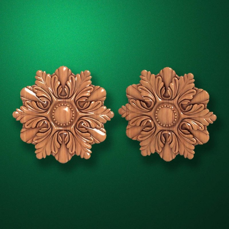 "Carved wood decor ""Central element-025"""