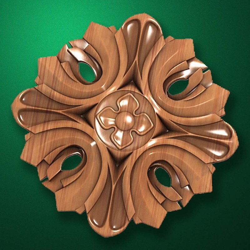 "Carved wood decor ""Central element-030"""