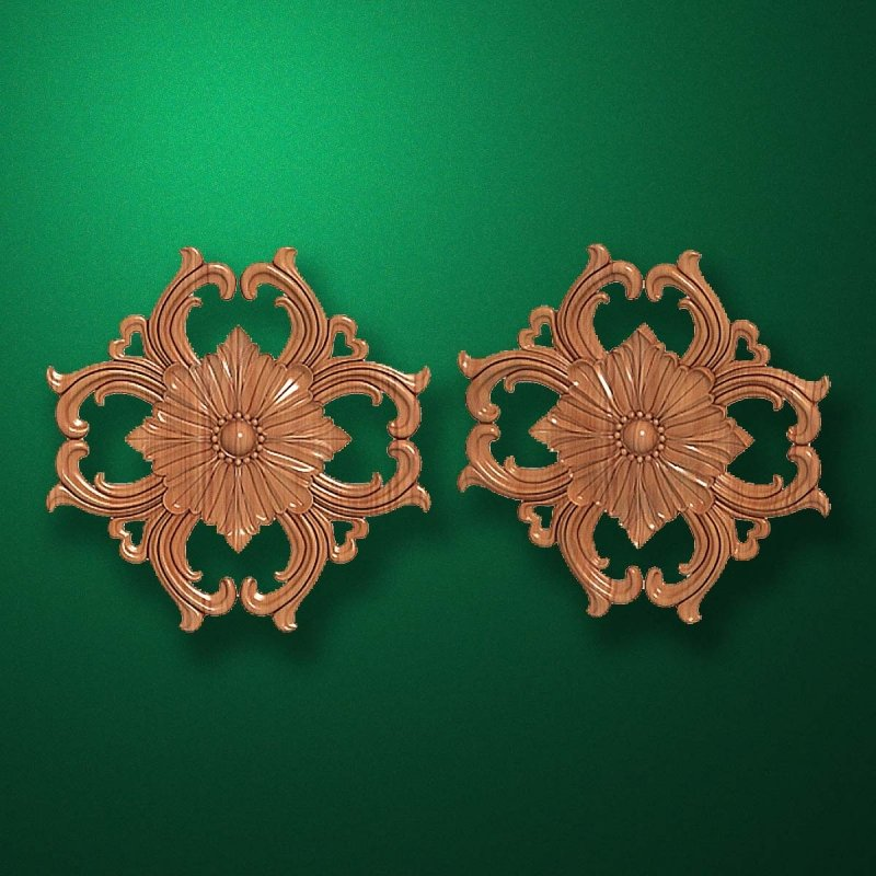 "Carved wood decor ""Central element-032"""