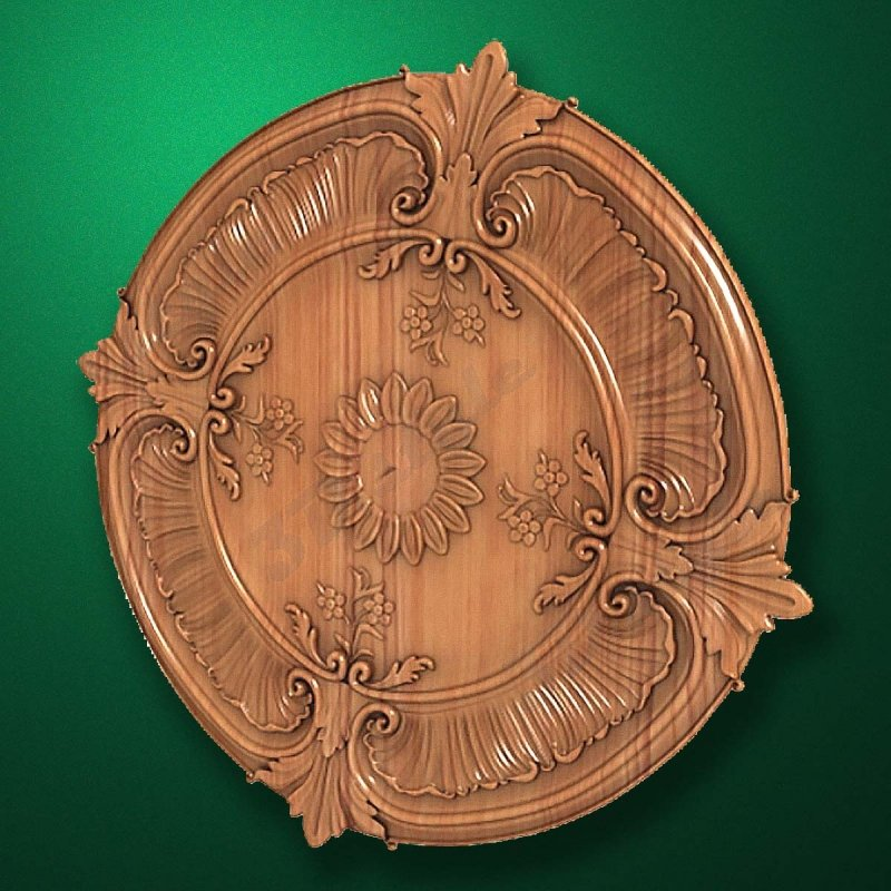 "Carved wood decor ""Central element-035"""