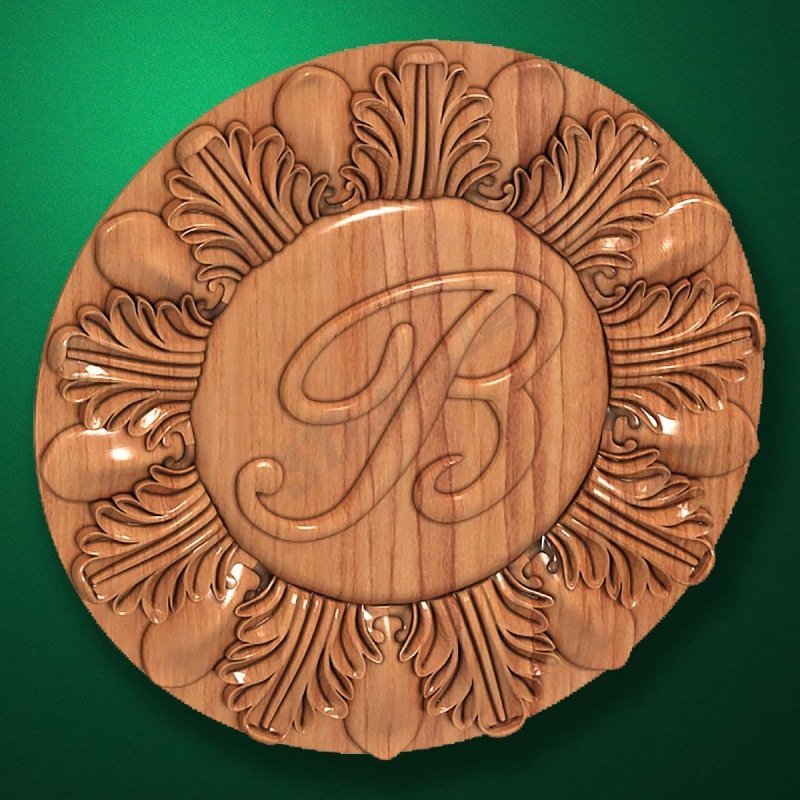 "Carved wood decor ""Central element-037"""