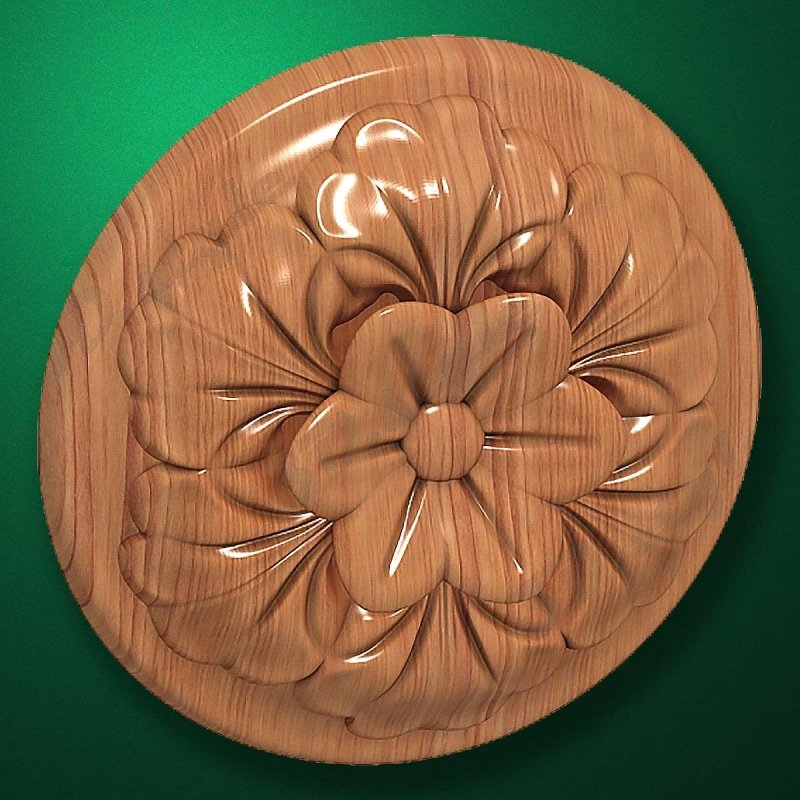 "Carved wood decor ""Central element-040"""