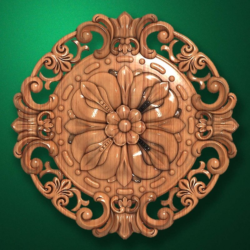 "Carved wood decor ""Central element-045"""