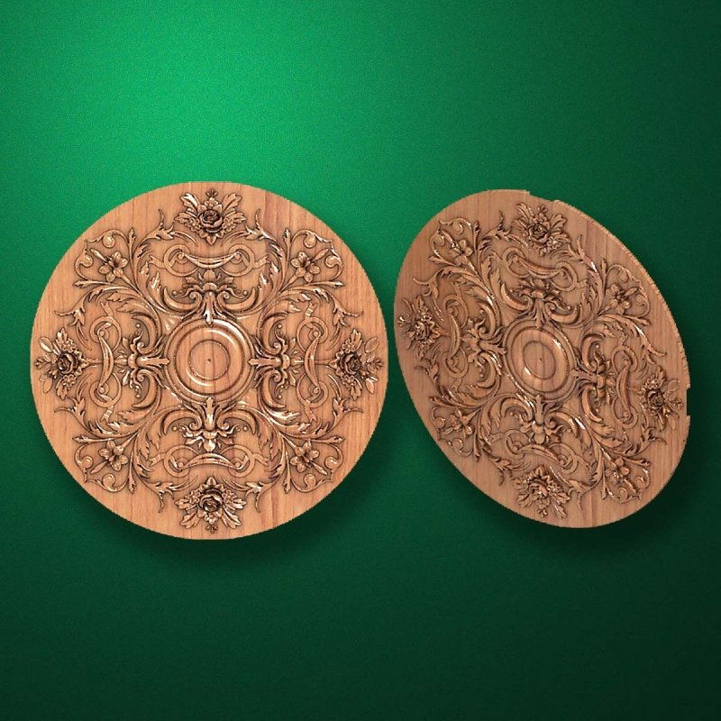 "Carved wood decor ""Central element-052"""