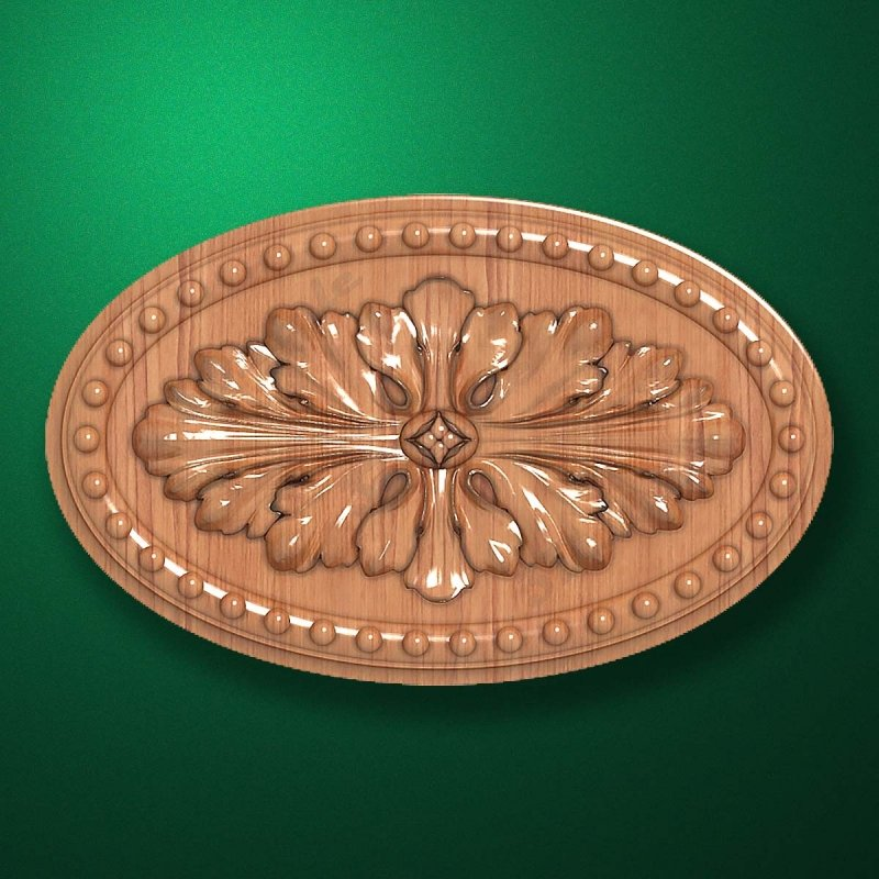 "Carved wood decor ""Central element-053"""