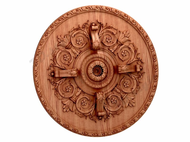 "Carved wood decor ""Central element-058"""