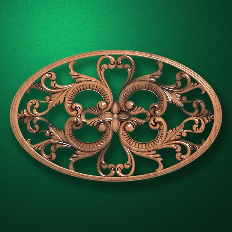 "Carved wood decor ""Central element-059"""