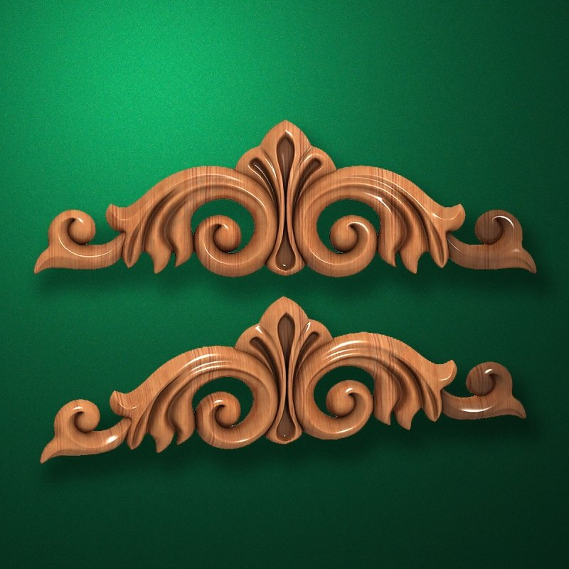 Carved elongated wooden or MDF decorative onlay. Code 13010