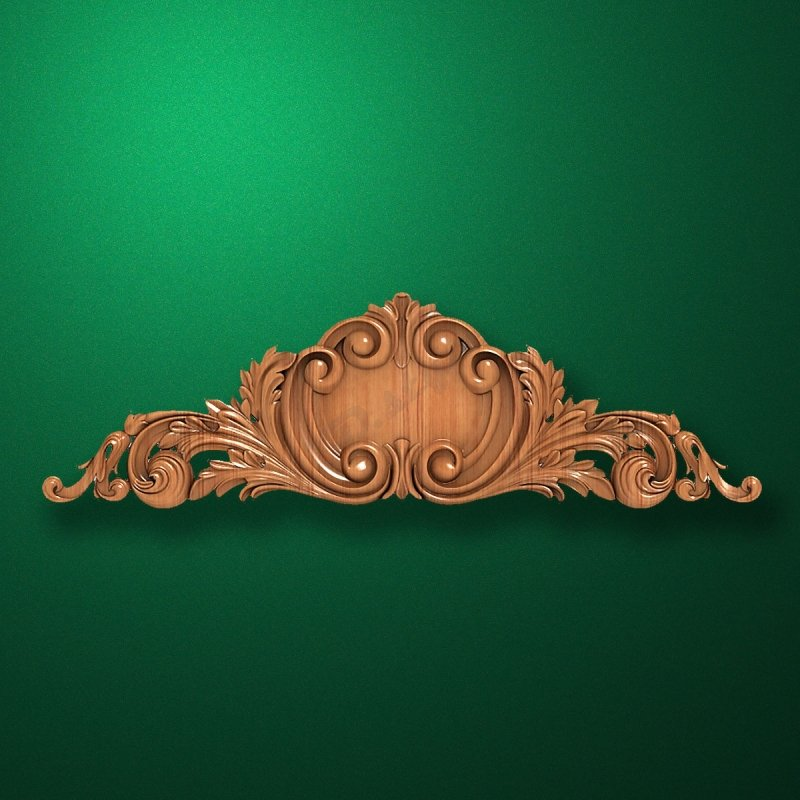Carved elongated wooden or MDF decorative onlay. Code 13014