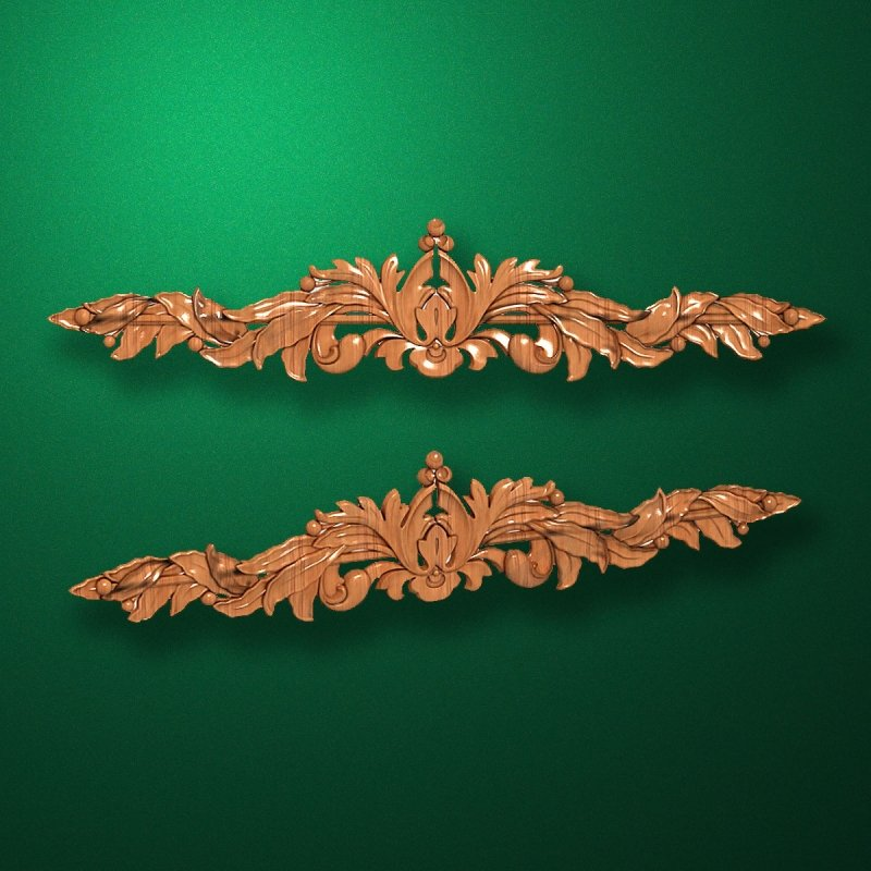 Image - Carved elongated wooden or MDF decorative onlay. Code 13015