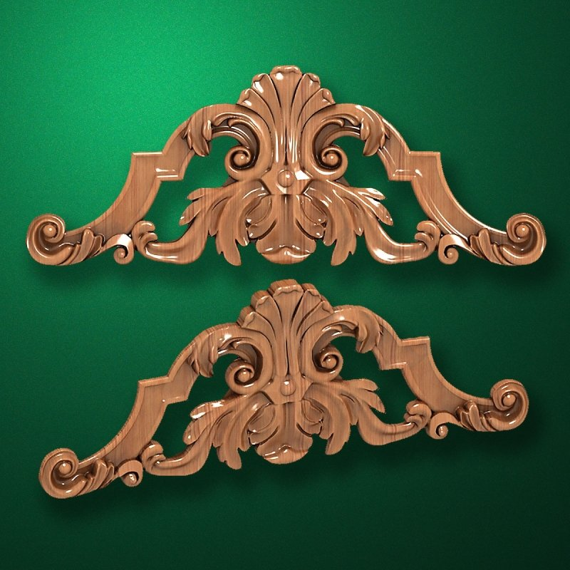 Carved wooden or MDF decorative onlay for furniture. Code 13504