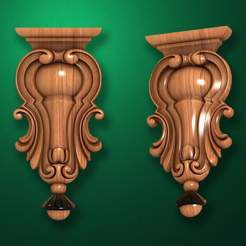 Picture - Carved wooden or MDF decorative onlay for furniture. Code 13513