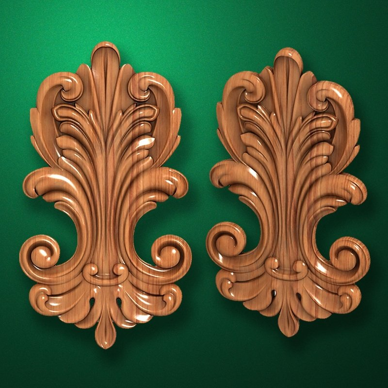 Carved wooden or MDF decorative onlay for furniture. Code 13514
