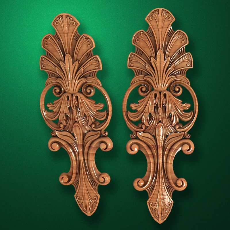 Carved wooden or MDF decorative onlay for furniture. Code 13515