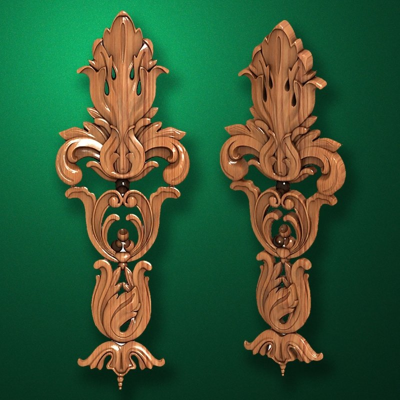 Carved wooden or MDF decorative onlay for furniture. Code 13516
