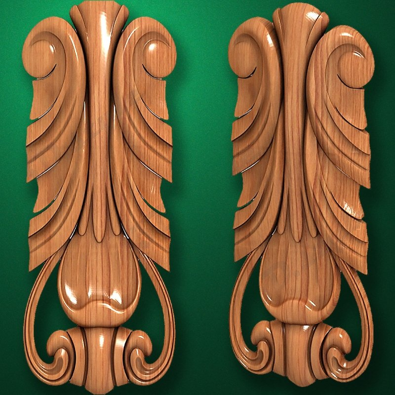 Picture - Carved wooden or MDF decorative onlay for furniture. Code 13517