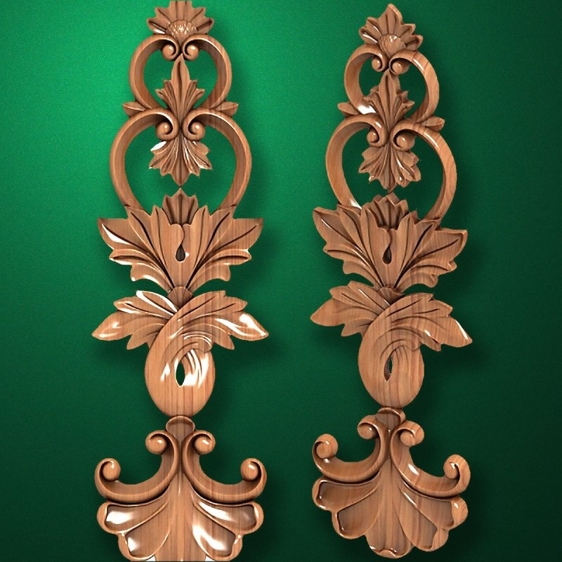 Image - Carved wooden or MDF decorative onlay for furniture. Code 13518