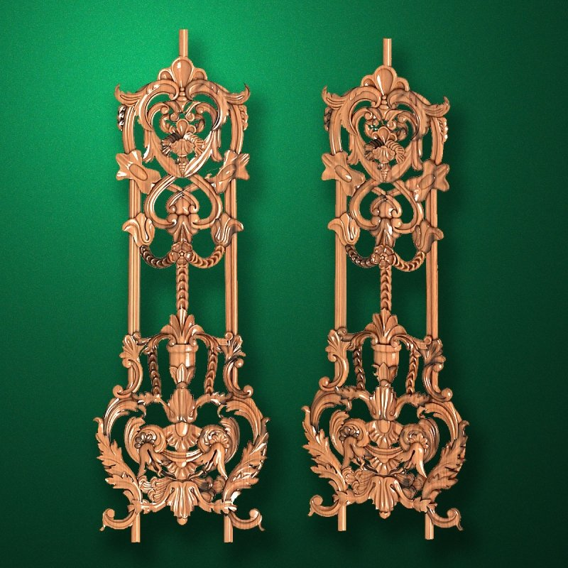 Carved wooden or MDF decorative onlay for furniture. Code 13521