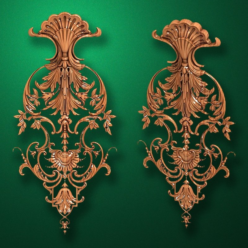 Carved wooden or MDF decorative onlay for furniture. Code 13524