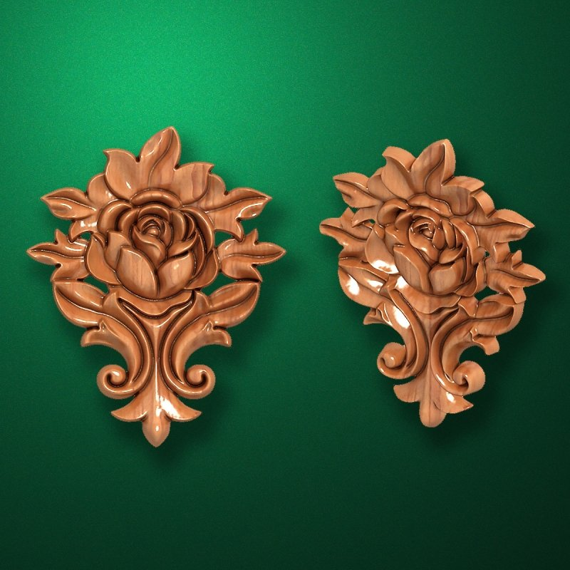 Picture - Carved wooden or MDF decorative onlay for furniture. Code 13529
