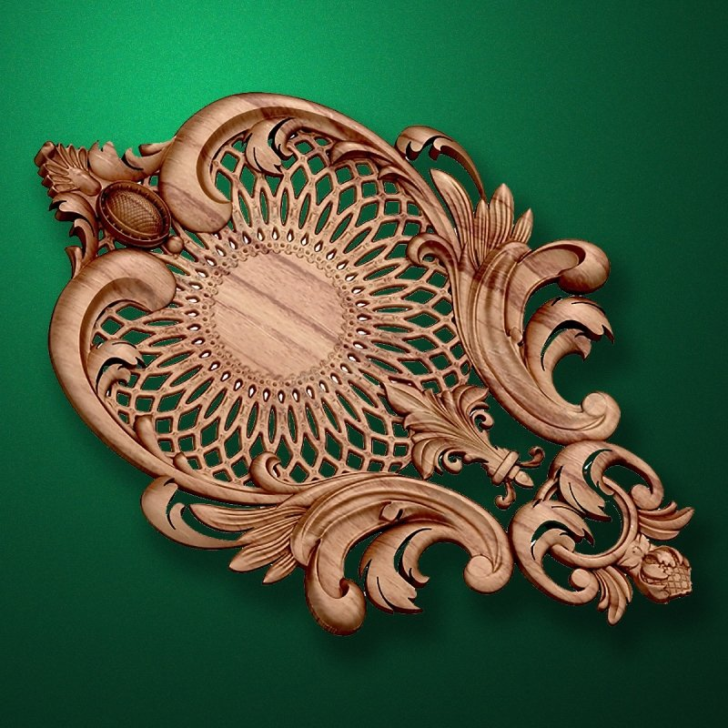 Carved wooden or MDF decorative onlay for furniture. Code 13535
