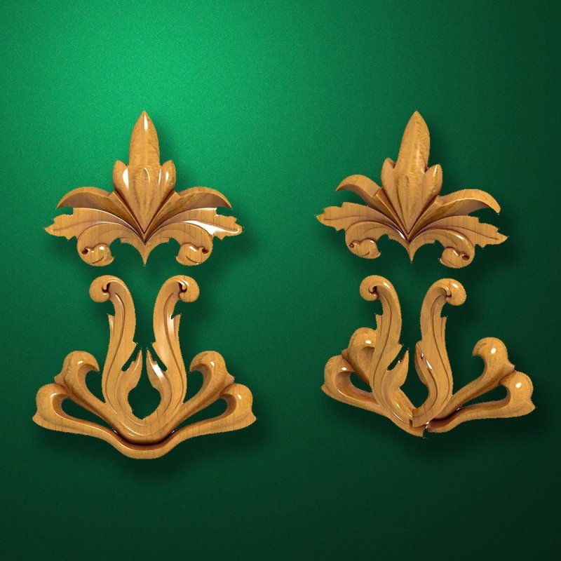 Picture - Carved wooden or MDF decorative onlay for furniture. Code 13540