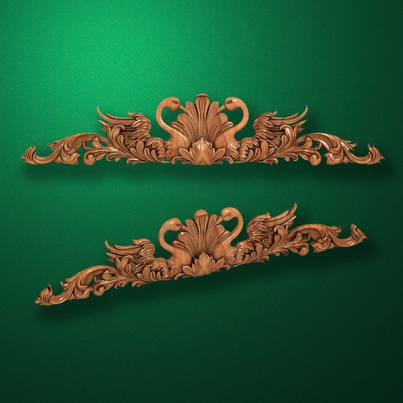 Picture - Carved horizontal wooden or MDF decorative onlay. Code 14001