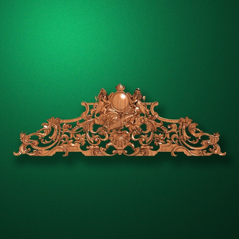 Carved horizontal wooden or MDF decorative onlay. Code 14003