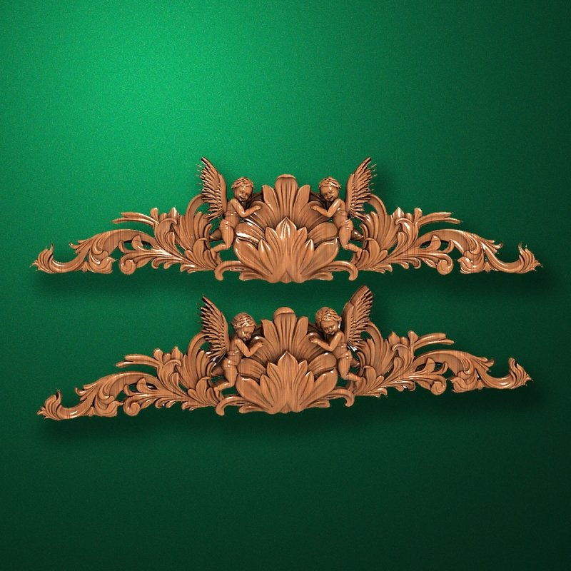 Image - Carved horizontal wooden or MDF decorative onlay. Code 14006