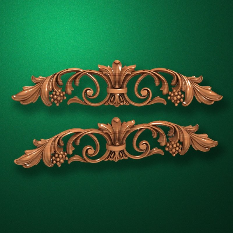 Carved horizontal wooden or MDF decorative onlay. Code 14009