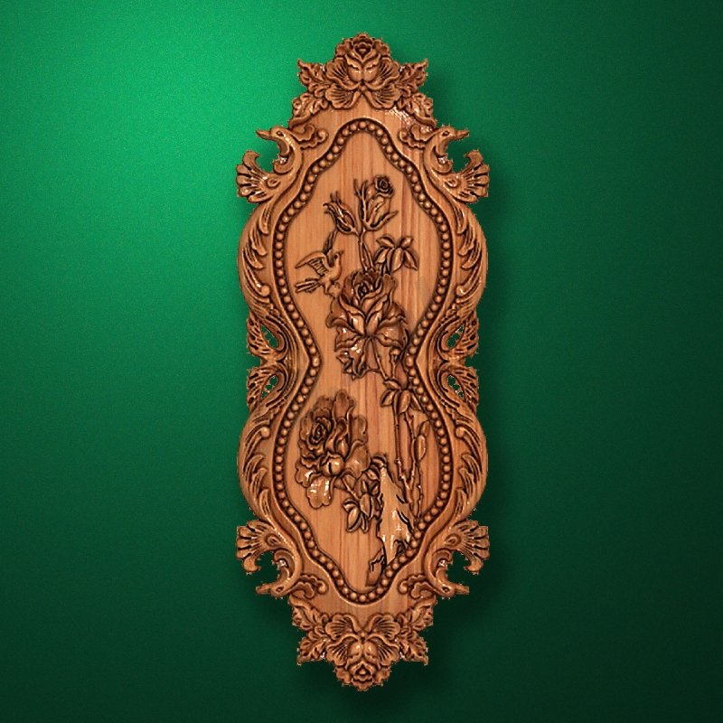 Picture - Carved vertical wooden or MDF decorative onlay. Code 14203