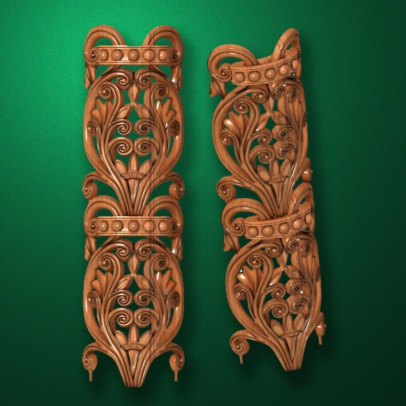 Picture - Carved vertical wooden or MDF decorative onlay. Code 14204