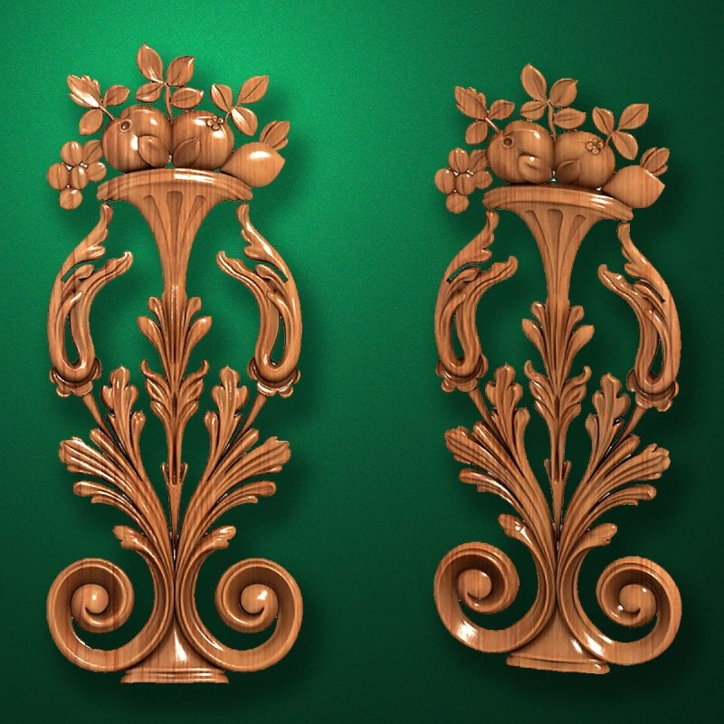 Carved vertical wooden or MDF decorative onlay. Code 14205