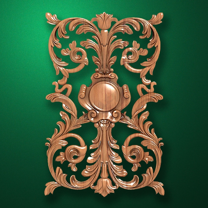 Carved vertical wooden or MDF decorative onlay. Code 14206