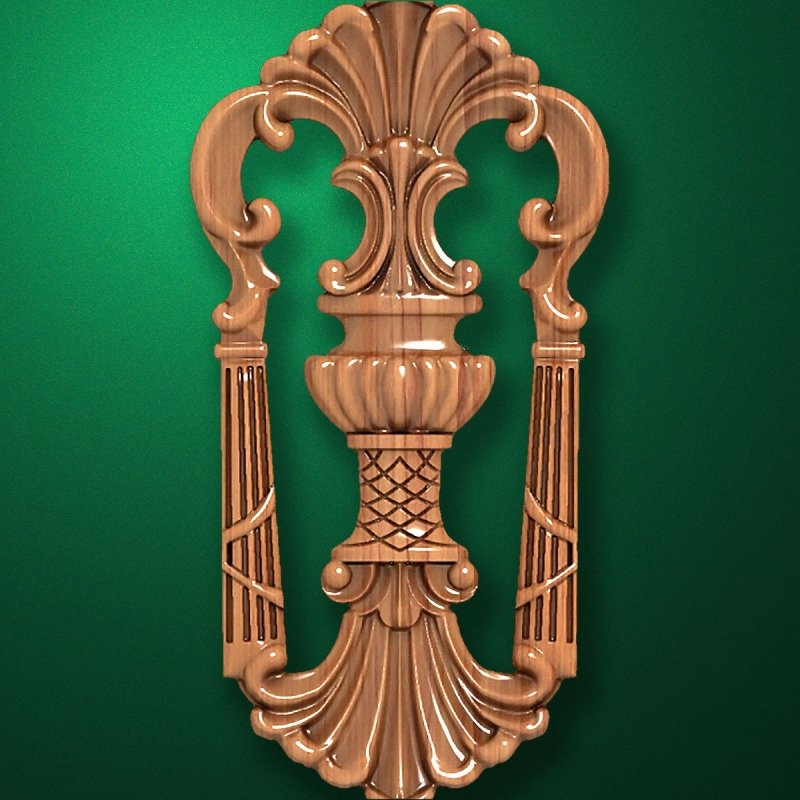 Carved vertical wooden or MDF decorative onlay. Code 14208