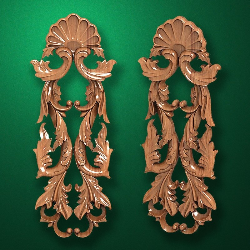 Carved vertical wooden or MDF decorative onlay. Code 14209