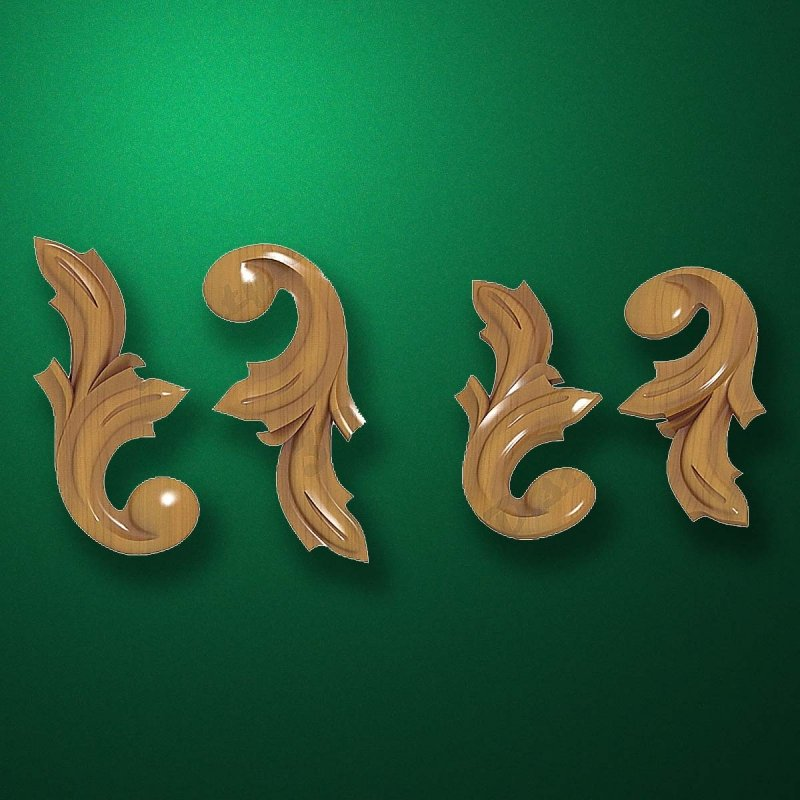 "Carved wood decor ""Corner element-003"""