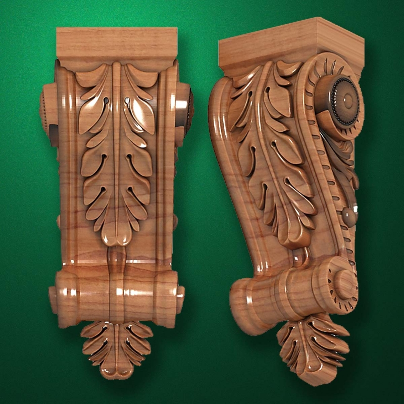 "Picture - Carved wood decor ""Bracket element-001"""