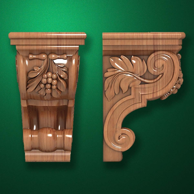 "Carved wood decor ""Bracket element-003"""