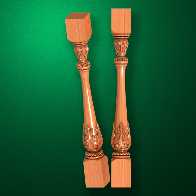 "Carved from wood ""Baluster-008"""