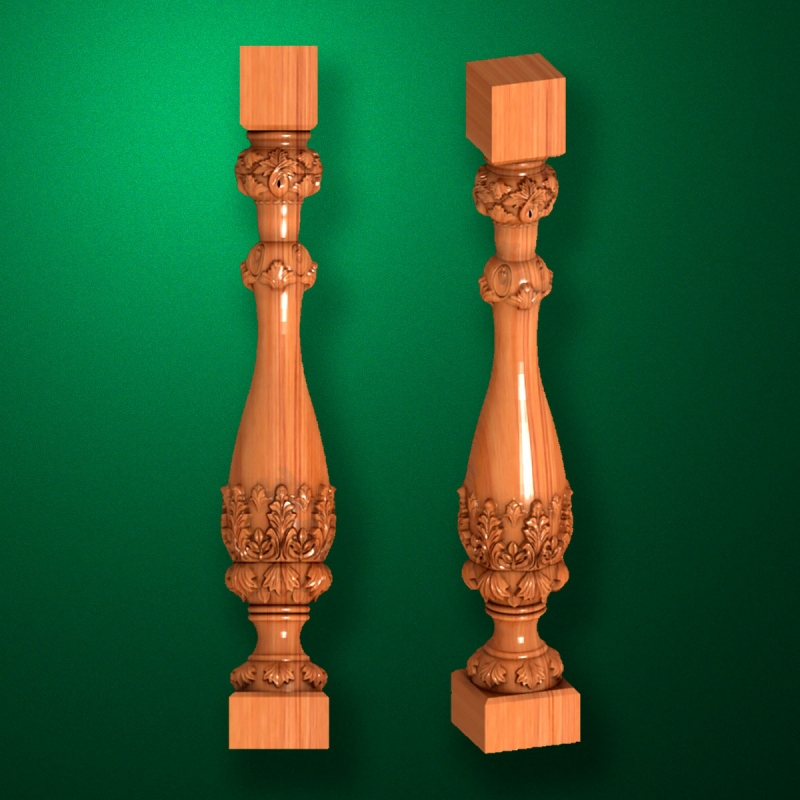 "Carved from wood ""Baluster-009"""