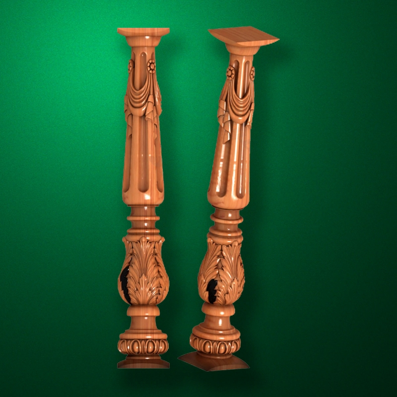 "Carved from wood ""Baluster-013"""