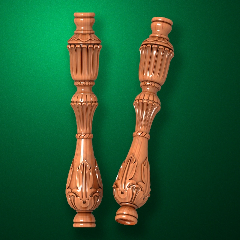 "Carved from wood ""Baluster-026"""