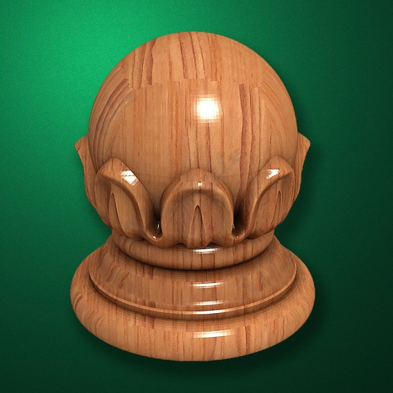"""Carved from wood """"Topping-003"""" for the stairs newels"""