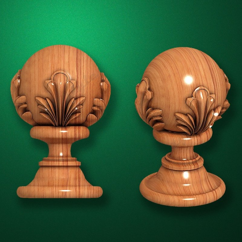 """Carved from wood """"Topping-005"""" for the stairs newels"""