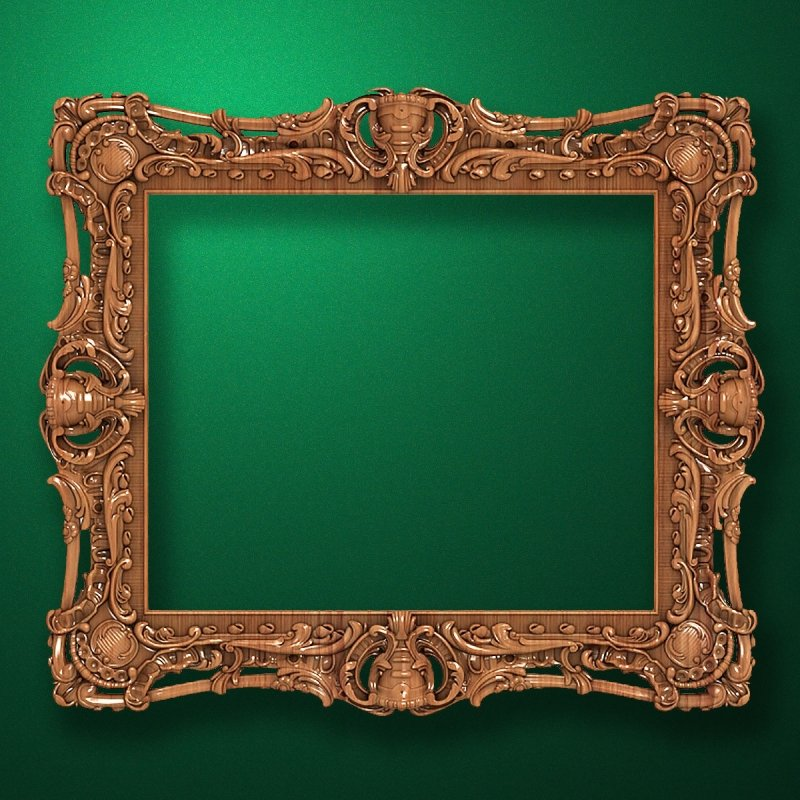 "Carved wood frame  ""Rectangular frame-004"""