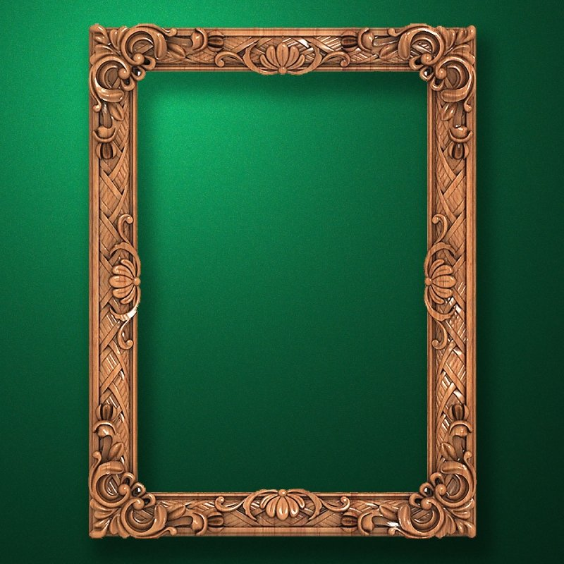 "Carved wood frame  ""Rectangular frame-006"""