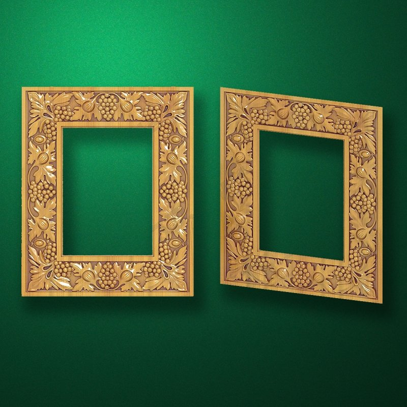 "Carved wood frame  ""Rectangular frame-010"""