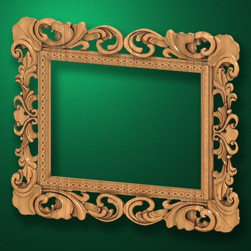 "Carved wood frame  ""Rectangular frame-023"""