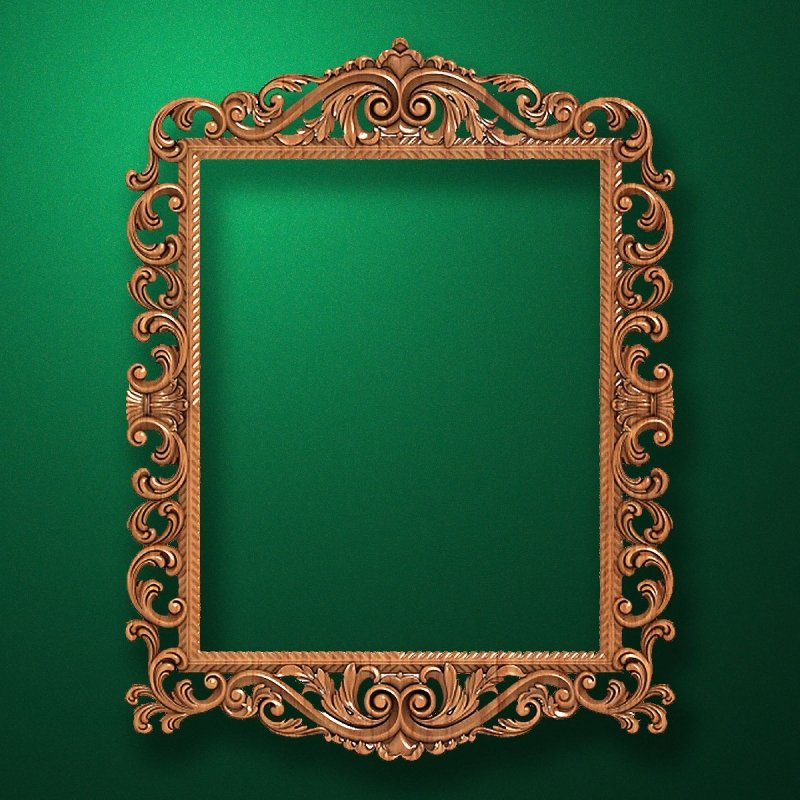 "Carved wood frame  ""Rectangular frame-027"""